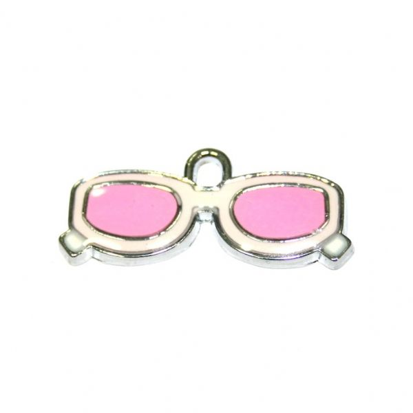 1pce x 27*9mm Rhodium plated pink/white colour sun glasses enamel charm - SD03 - CHE1178